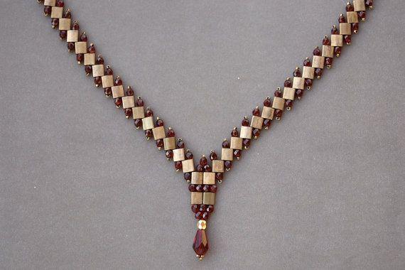 Tila Necklace Tutorial - Beading Tutorial - PDF Beading Pattern - Tila Beads #craftstomakeandsell
