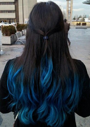 Blue Dark Brown Hair Blue Hair Highlights Dyed Hair Blue