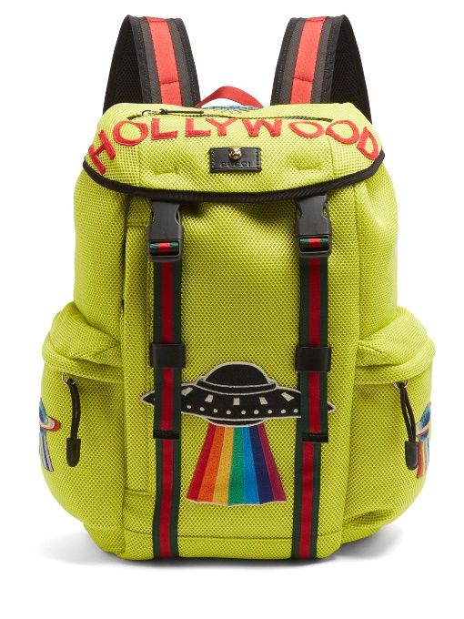 Mesh backpack with embroidery - Yellow & Orange Gucci 8h72SPf