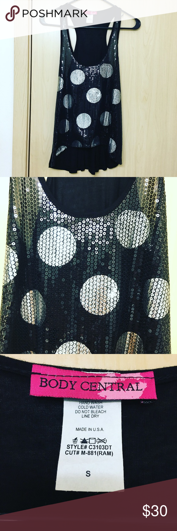 Body Central Black & Silver Polkadot Sequin Cami Body Central Black Silver Polkadot High-Low Tank. NWOT. Bought & never worn. Perfect condition. Size small. Body Central Tops Camisoles