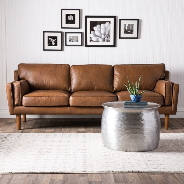 Delightful Beatnik Oxford Leather Tan Sofa   15465010   Overstock.com Shopping   Great  Deals On Great Pictures