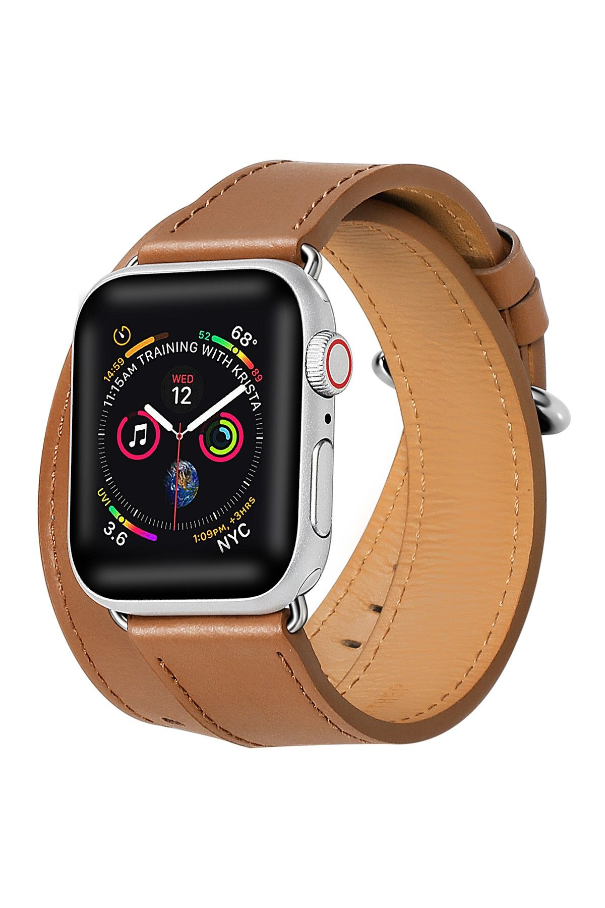 POSH TECH Brown Double Wrap Leather 42mm Apple Watch 1/2