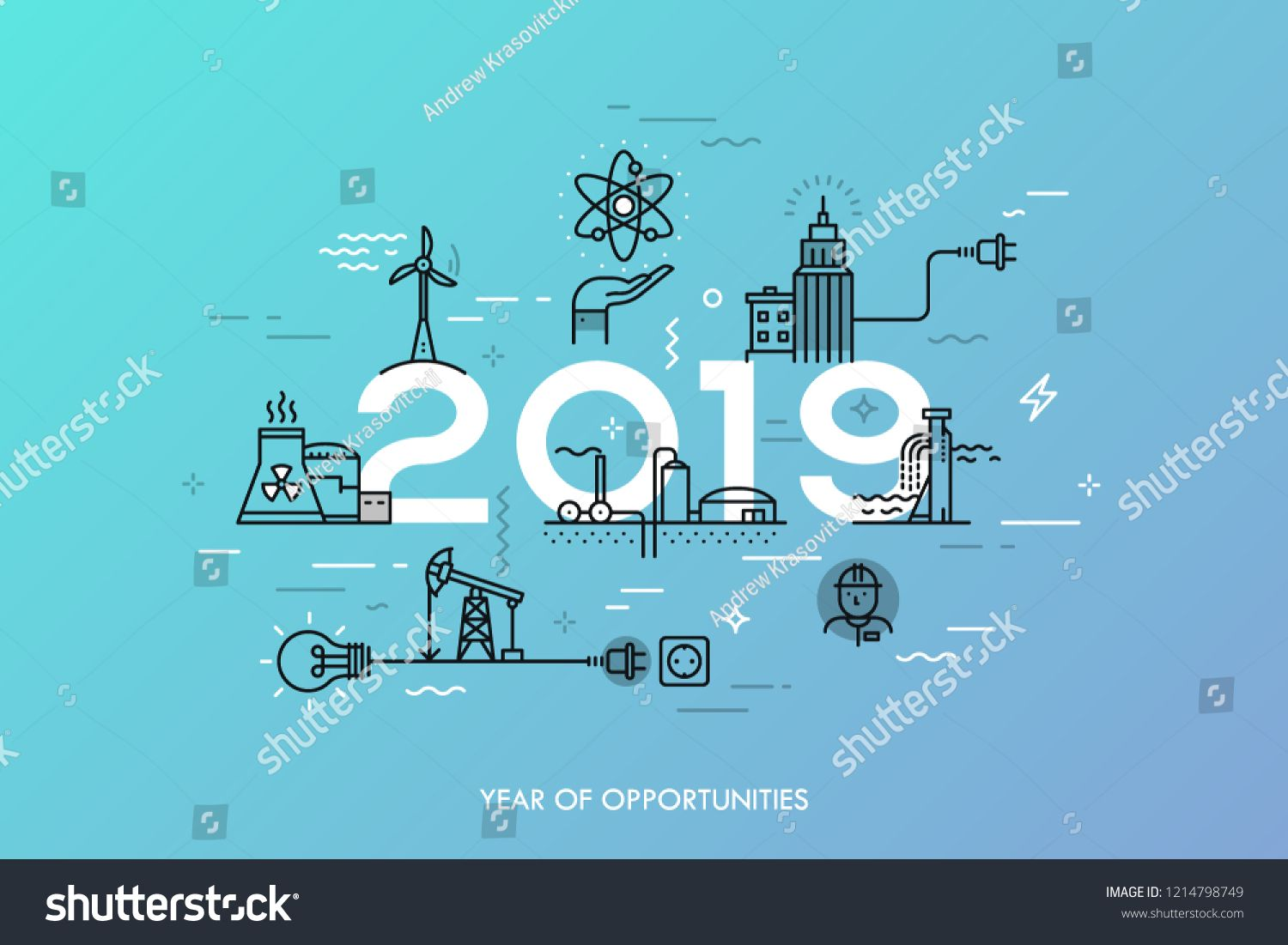 Infographic banner, 2019 year of opportunities. Trends
