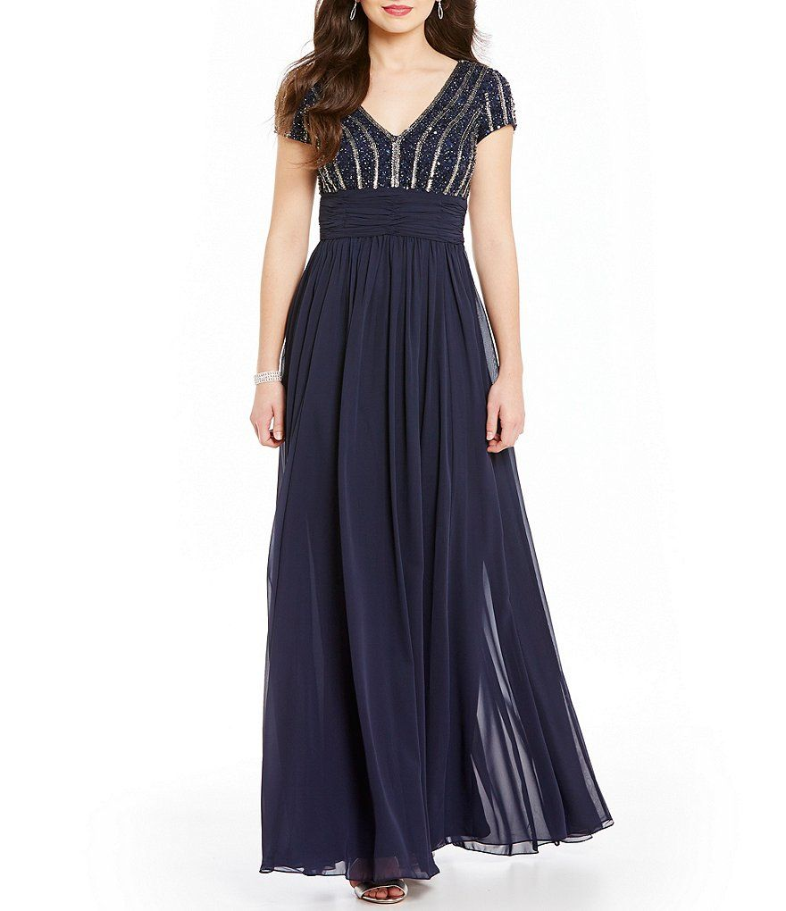 JS Collections V-Neck Chiffon Deco Embellished Open-Back Gown ...