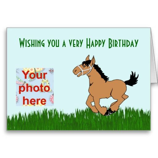 Happy Birthday With Pony For Girl Add Photo Card Photo Cards