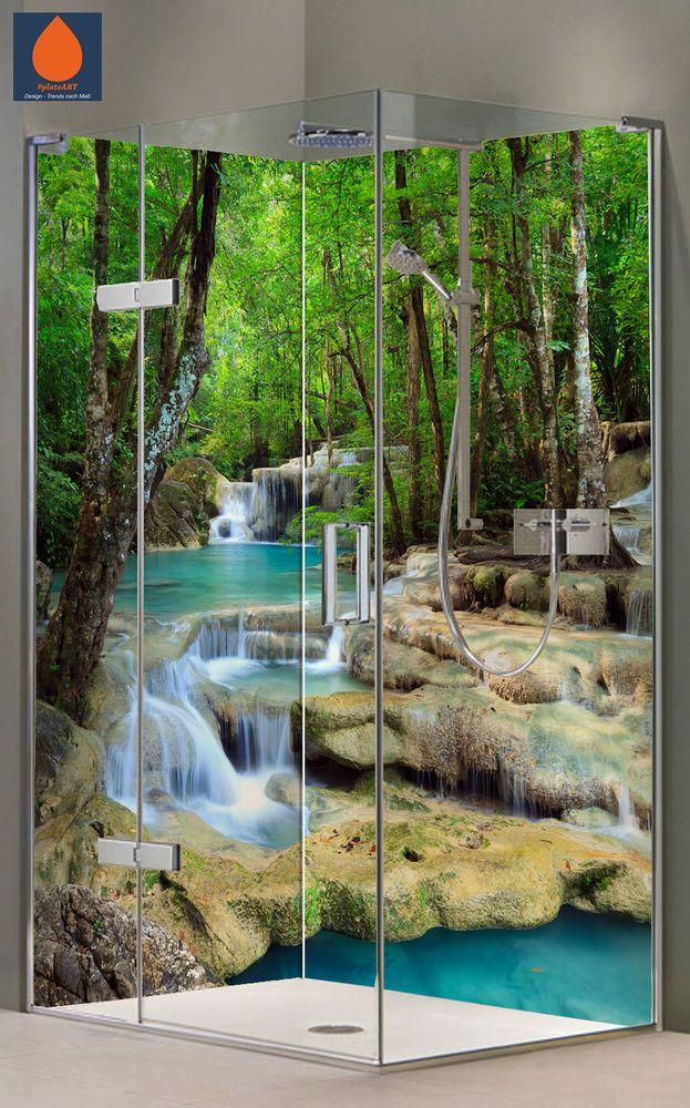 Wasserfall DA40-G Eck Duschrückwand Rückwand Dusche Alu