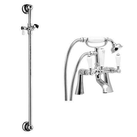 Lancaster Traditional Bath Shower Mixer With Slider Rail Kit   Chrome