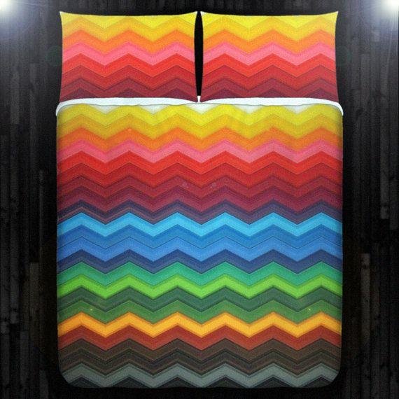 Rainbow Chevron Duvet Cover, Colorful Chevron Blanket ...