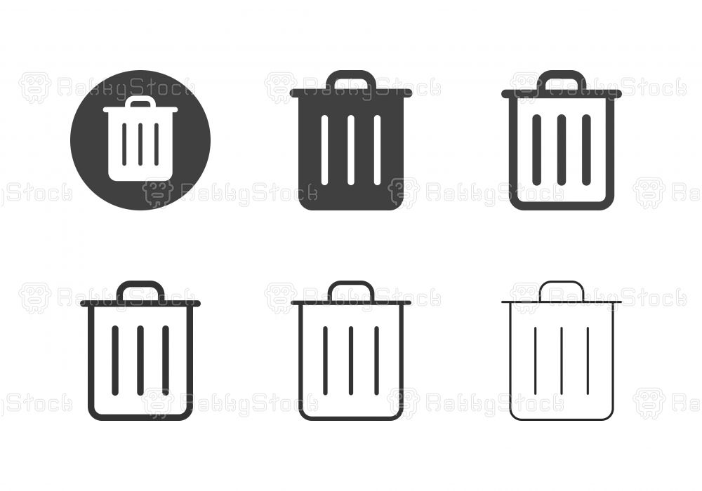 Garbage Can Icons Multi Series Vector Eps File Garbage Can Icon Pictogram Design