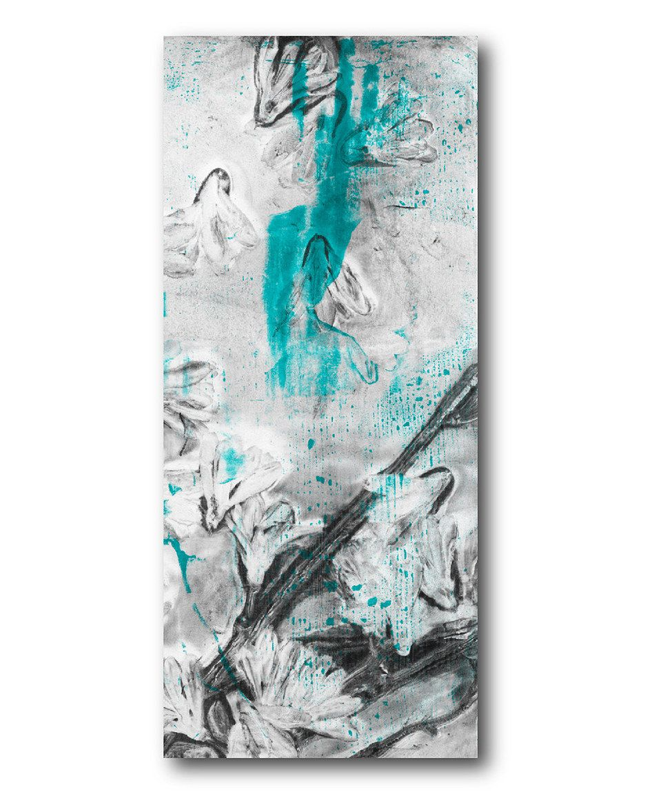 Turqoise & Gray Floral I Canvas Wall Art by Courtside Market #zulily #zulilyfinds