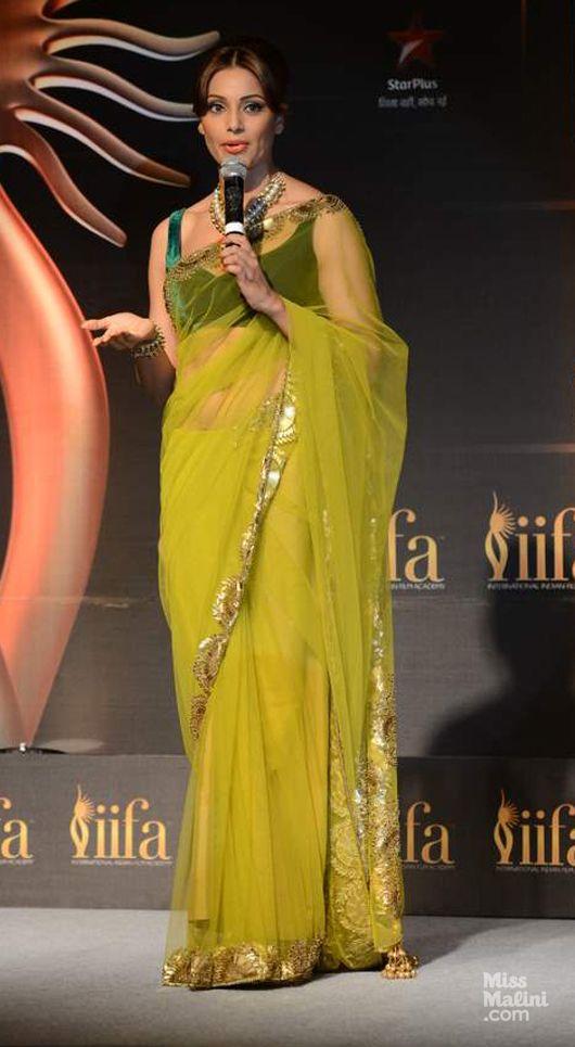 Feb, 14: Bipasha Basu in a http://www.ManishMalhotra.in/ Saree at IIFA Awards Press Conference