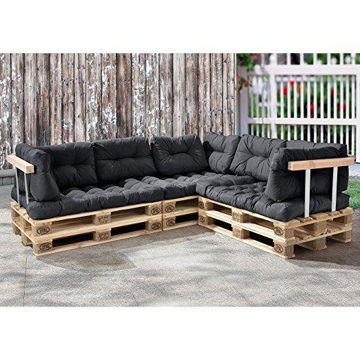 palettenkissen 11 teilig sitzpolster r ckenkissen dunkelgrau paletten sofa eur. Black Bedroom Furniture Sets. Home Design Ideas