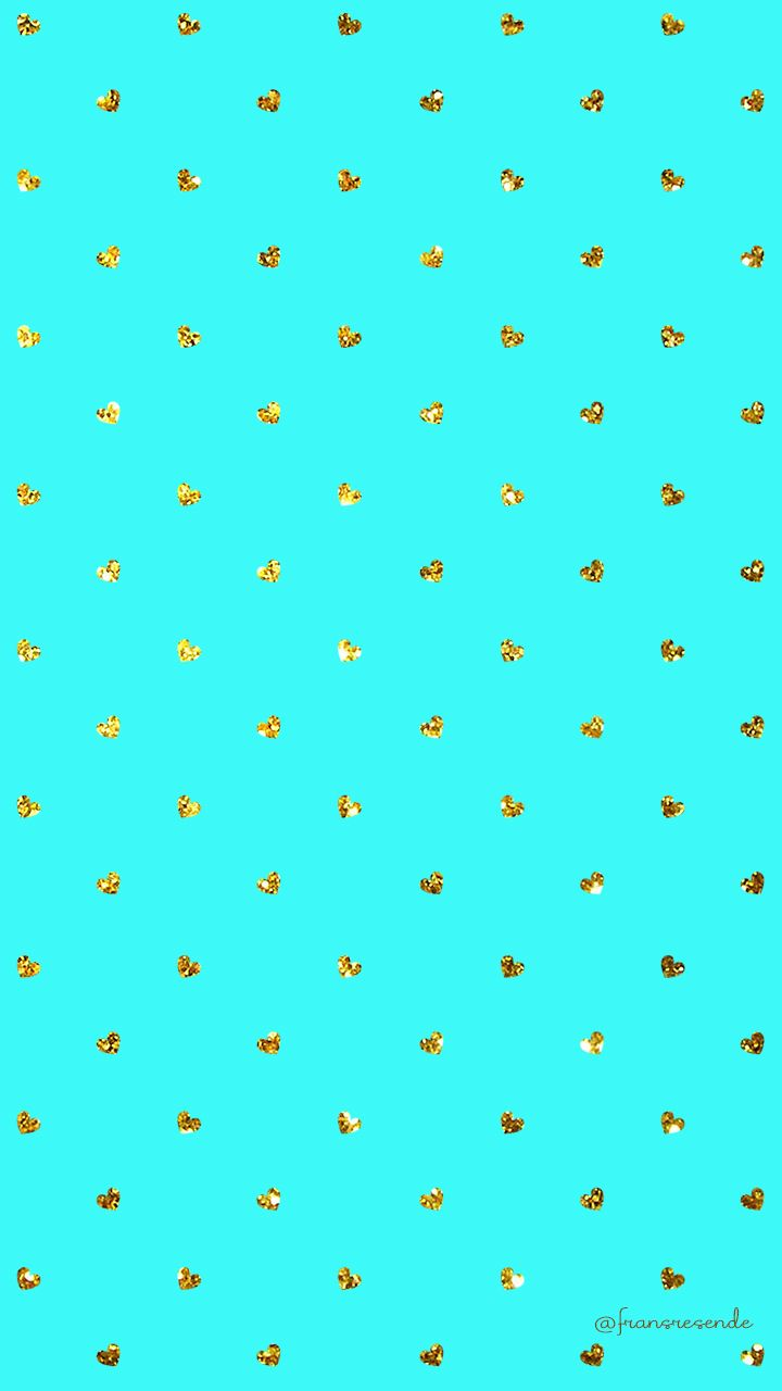 Turquoise Gold Tiny Hearts Heart Iphone Wallpaper Heart