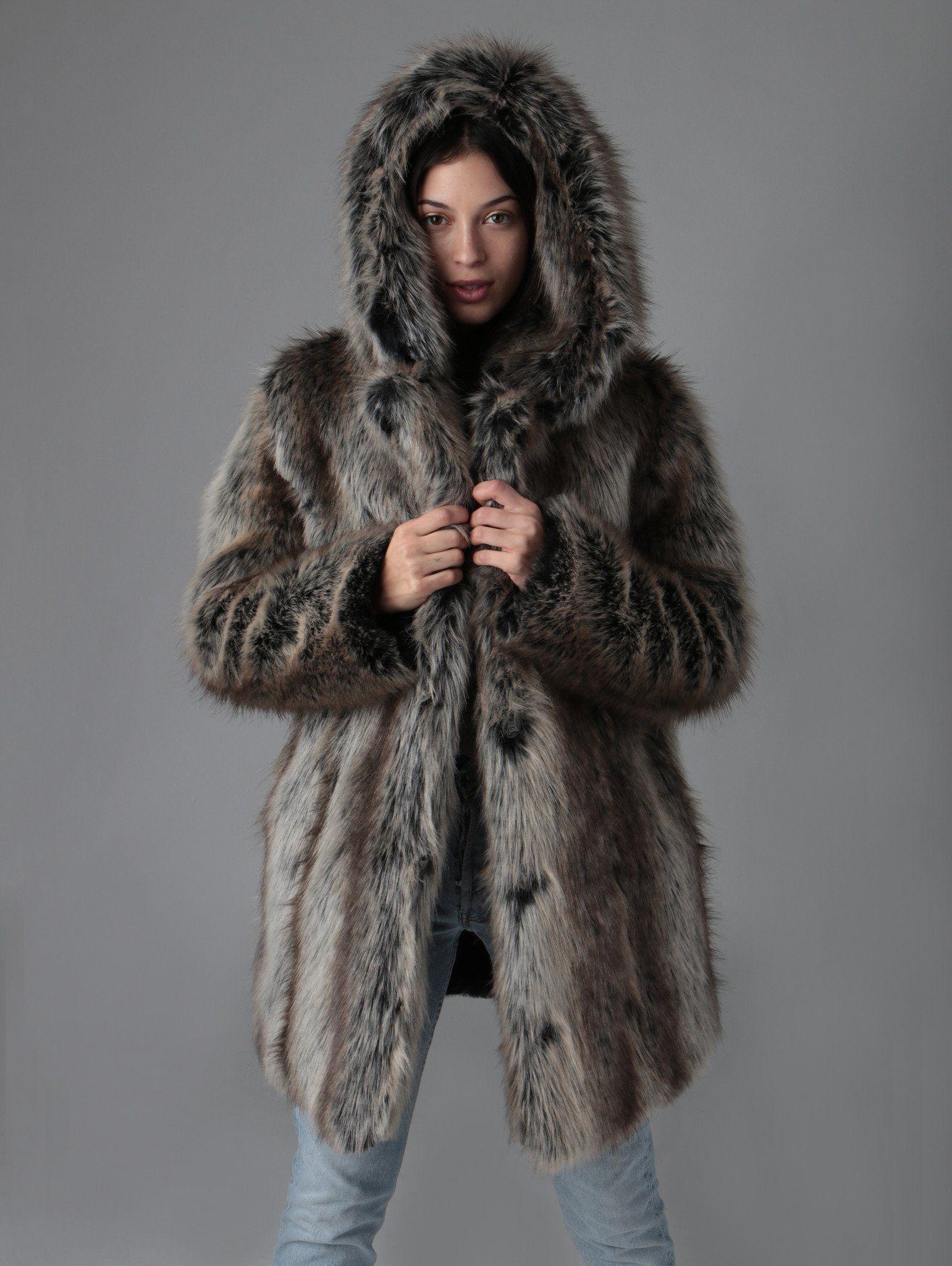 dcd2c3befa Hooded Grey Wolf Faux Fur Coat | Products | Faux fur, Coat, Fur
