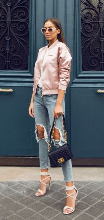 286944b92d3 Fifties style pink bomber jacket + Kenza Zouiten + destroyed jeans +  strappy heels Jacket  Nelly