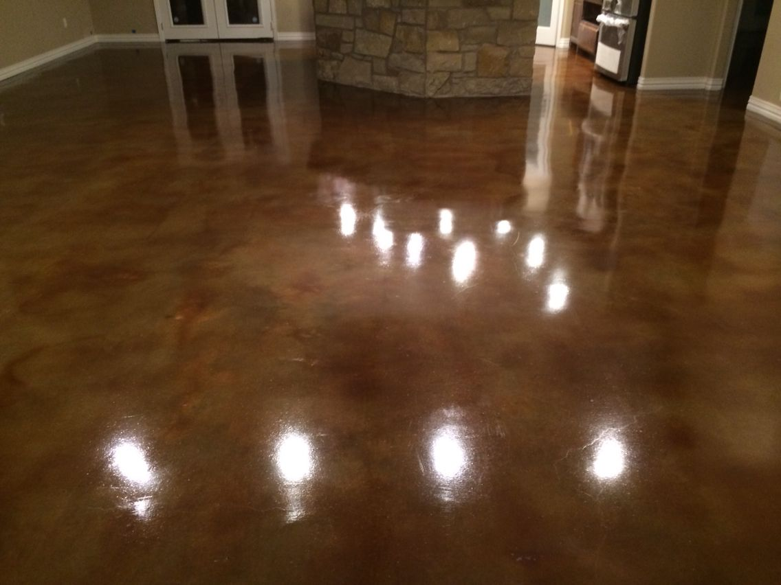 Kona Brown Acid Stained Floors Buffalo Gap Texas