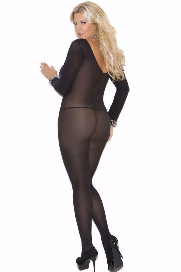 d573c77097b Plus Size Full Length Long Sleeve Body Stocking Opaque Footed Hosiery  Lingerie Long Sleeve Length