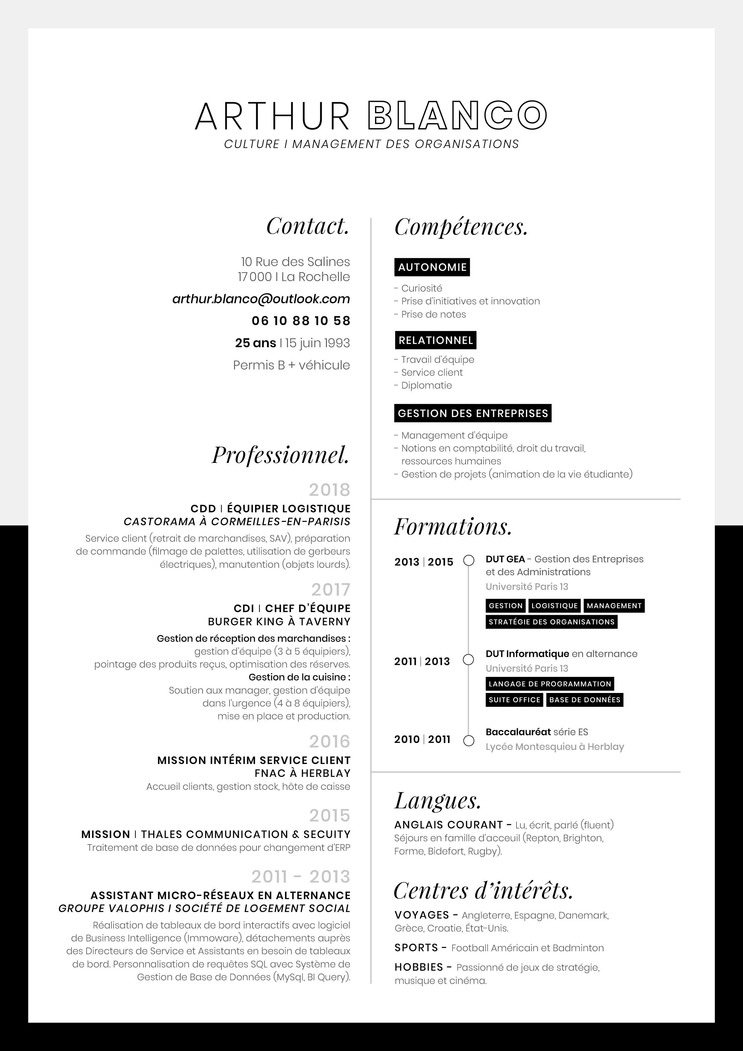 Cv Sobre Et Design Pour Un Poste De Management Et Secteur Culturel Gestion Entreprise Design Droit Du Travail