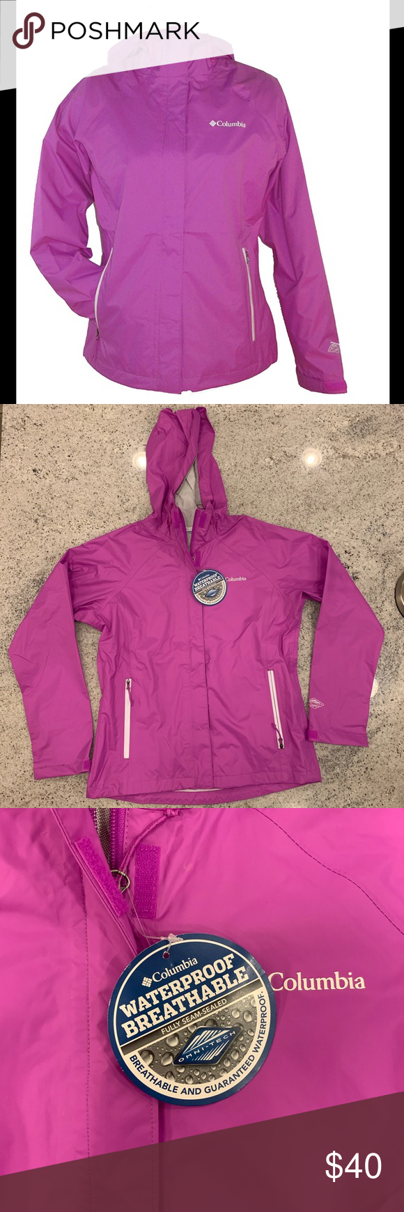 "New Womens Columbia /""Gable Pass/"" Omni-Tech Waterproof Hooded Rain Jacket"