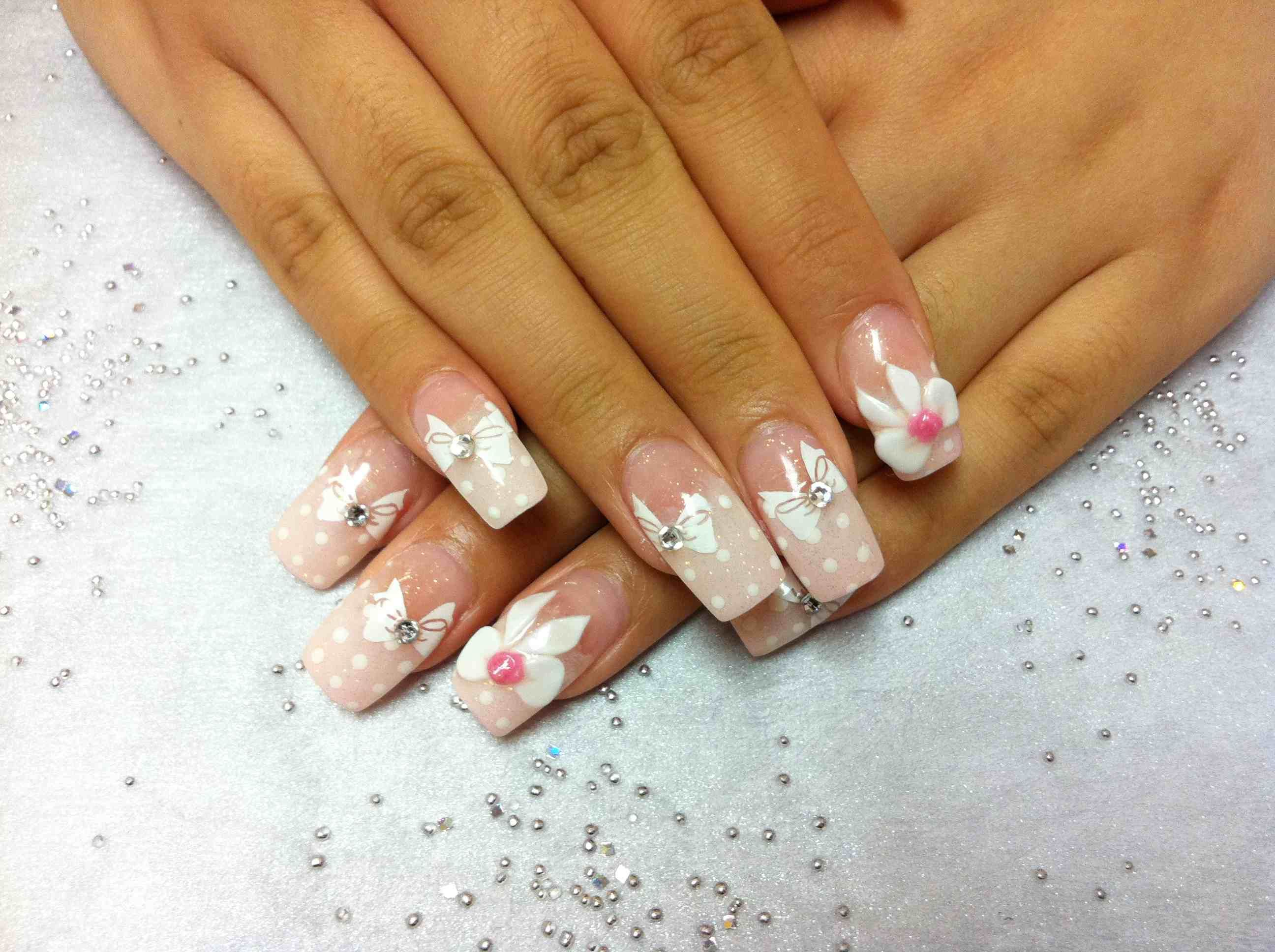 pink white ribbon acrylic nails - http://69hdwallpapers.com/pink ...