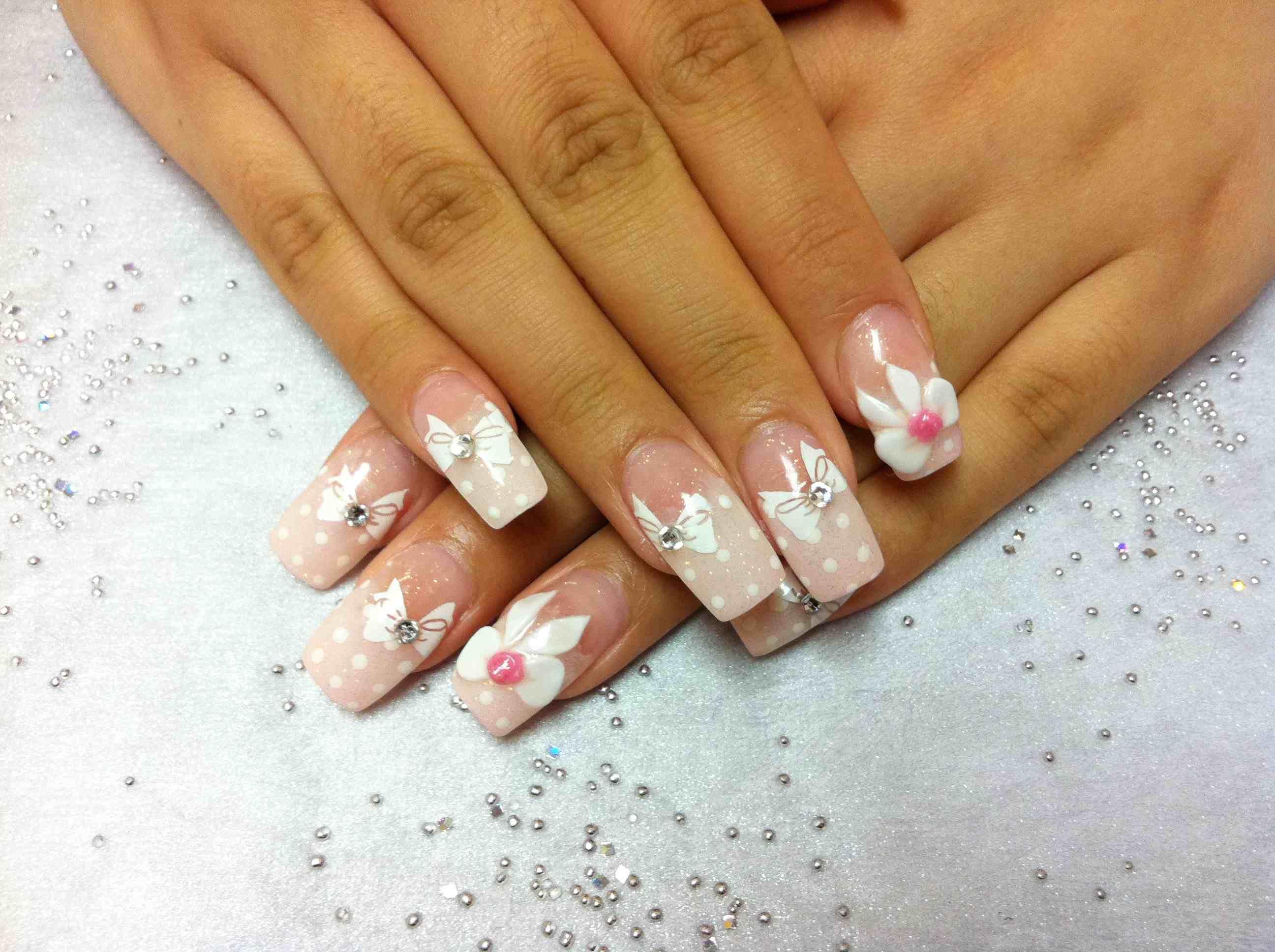 Acrylic nails with rhinestones acrylic nail designs pink