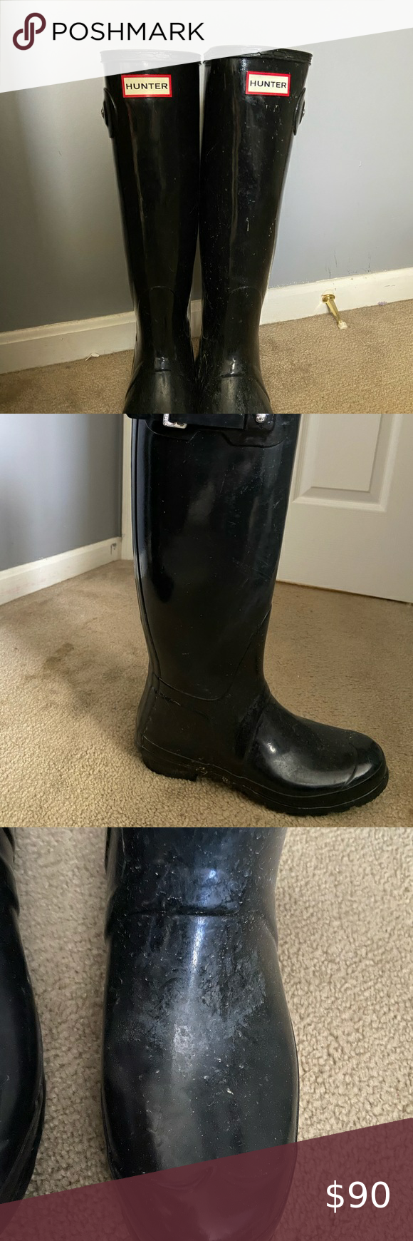 Hunter Boots Black hunter boots, some wear on the bridges but otherwise in great...