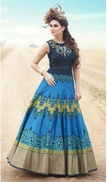 a49b5a32856 Sky Blue Color Bhagalpuri Silk Embroidered Party Wear Readymade Gown ...