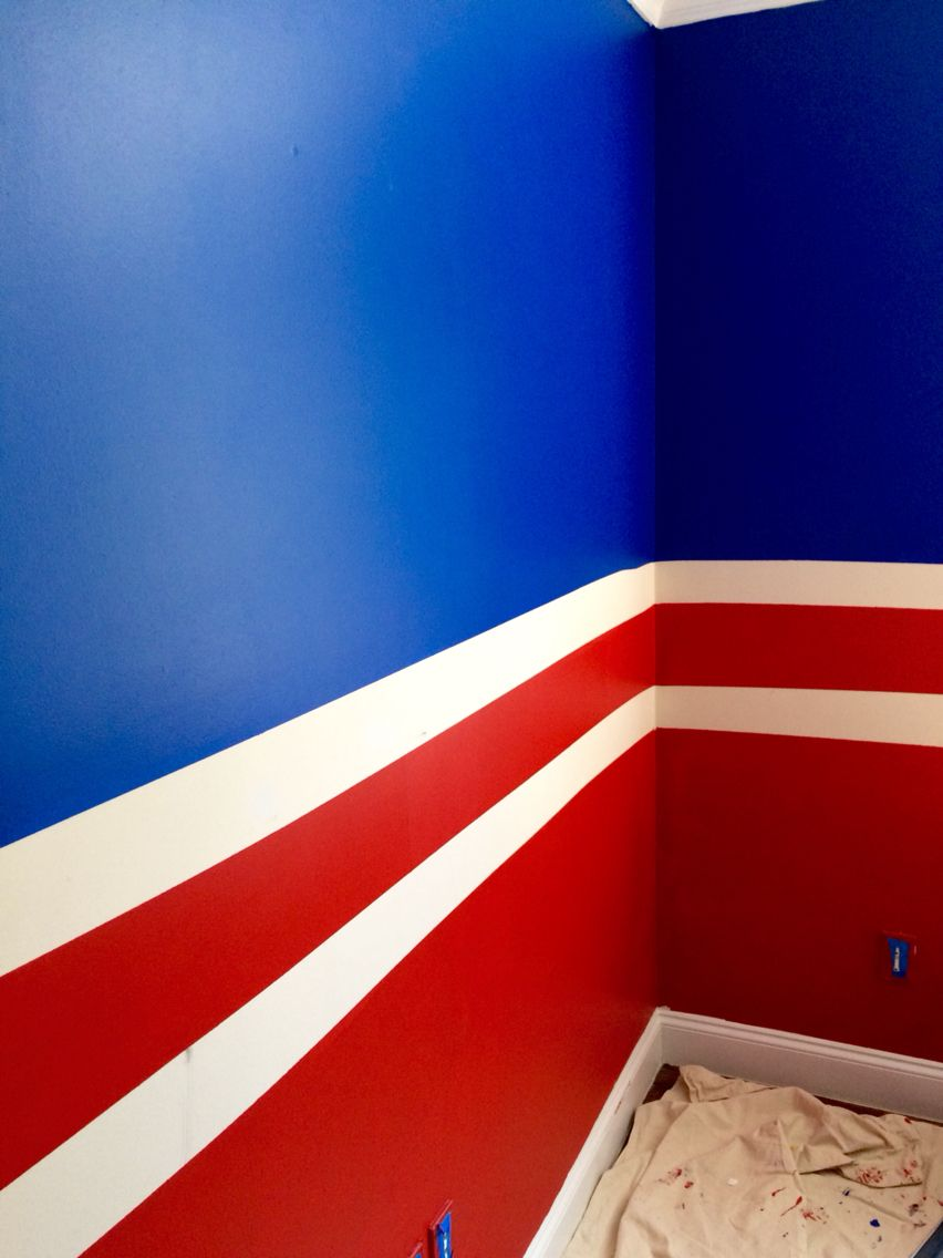 My sons newly painted bedroom. New York Rangers colors. | Home. Home ...