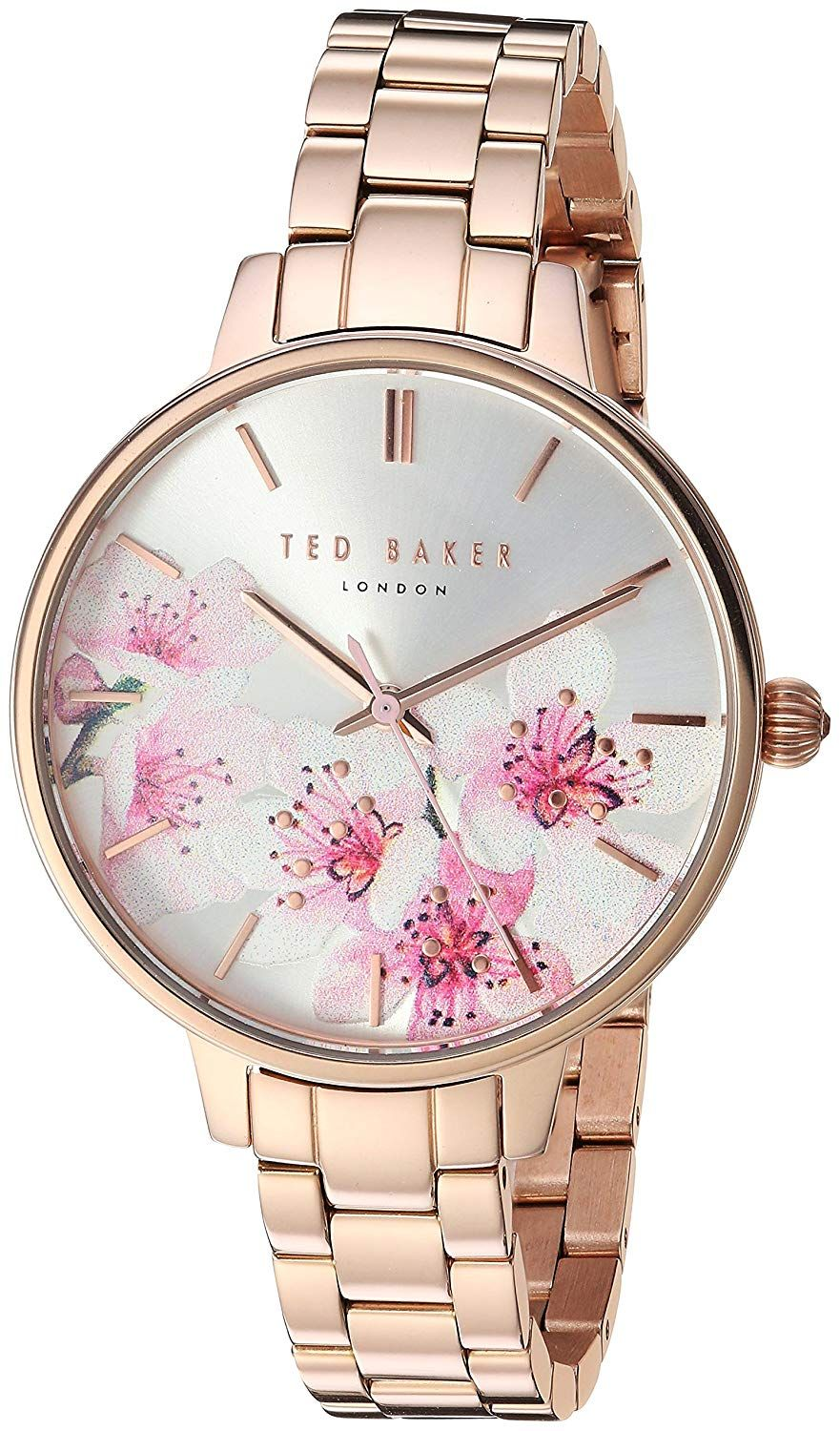 ce6a84699 Amazon.com  Ted Baker Women s  Kate  Quartz Stainless Steel and Leather  Watch