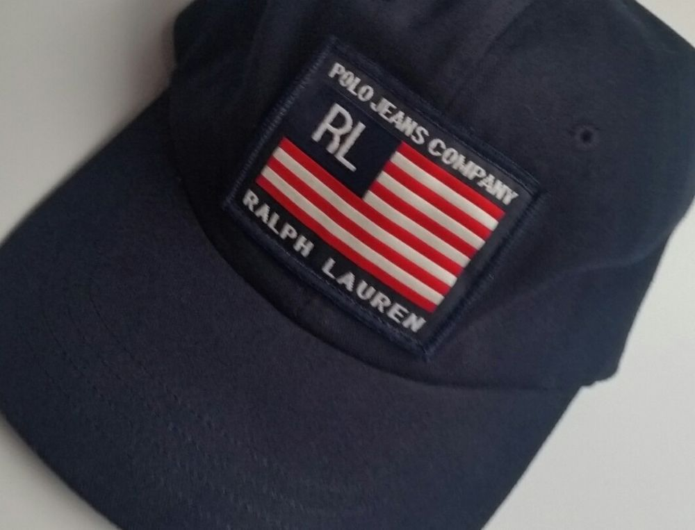 138aeba80da31 Ralph Lauren Polo Jeans Company Adustable (One Size Fits Most) Strap Back  Hat  Cap Dark Navy Blue w  American Flag Patch Pre-owned - light soiling