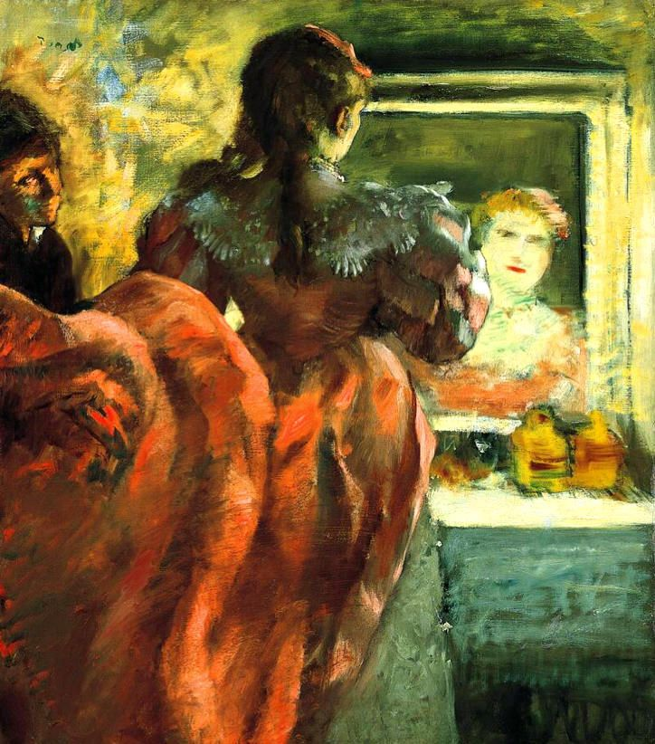 Actress before the Mirror in her Dressing Room = Edgar Degas - 1879 Impressionism