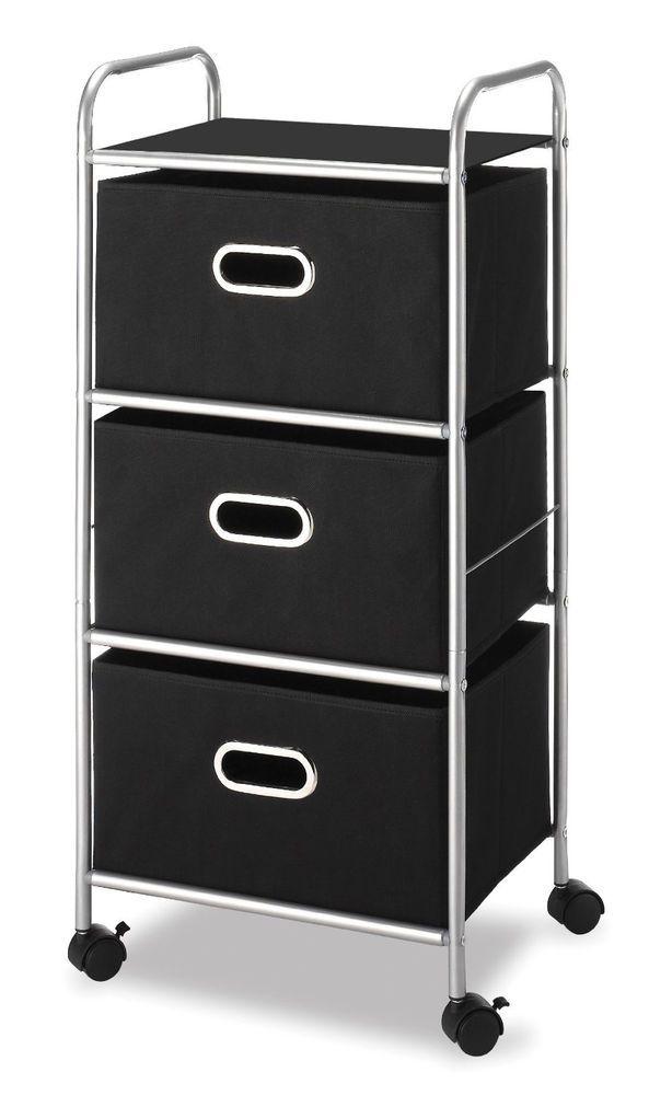 Drawer Dresser Chest College Dorm Office Furniture Storage Cabinet Wheels  Black #Whitmor #Casual