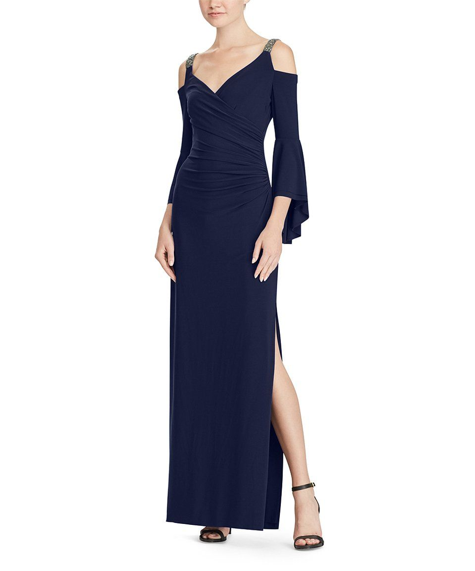 94bf1a72d3426 Take a look at this Lighthouse Navy Embellished Cutout Bell-Sleeve Gown -  Women today!