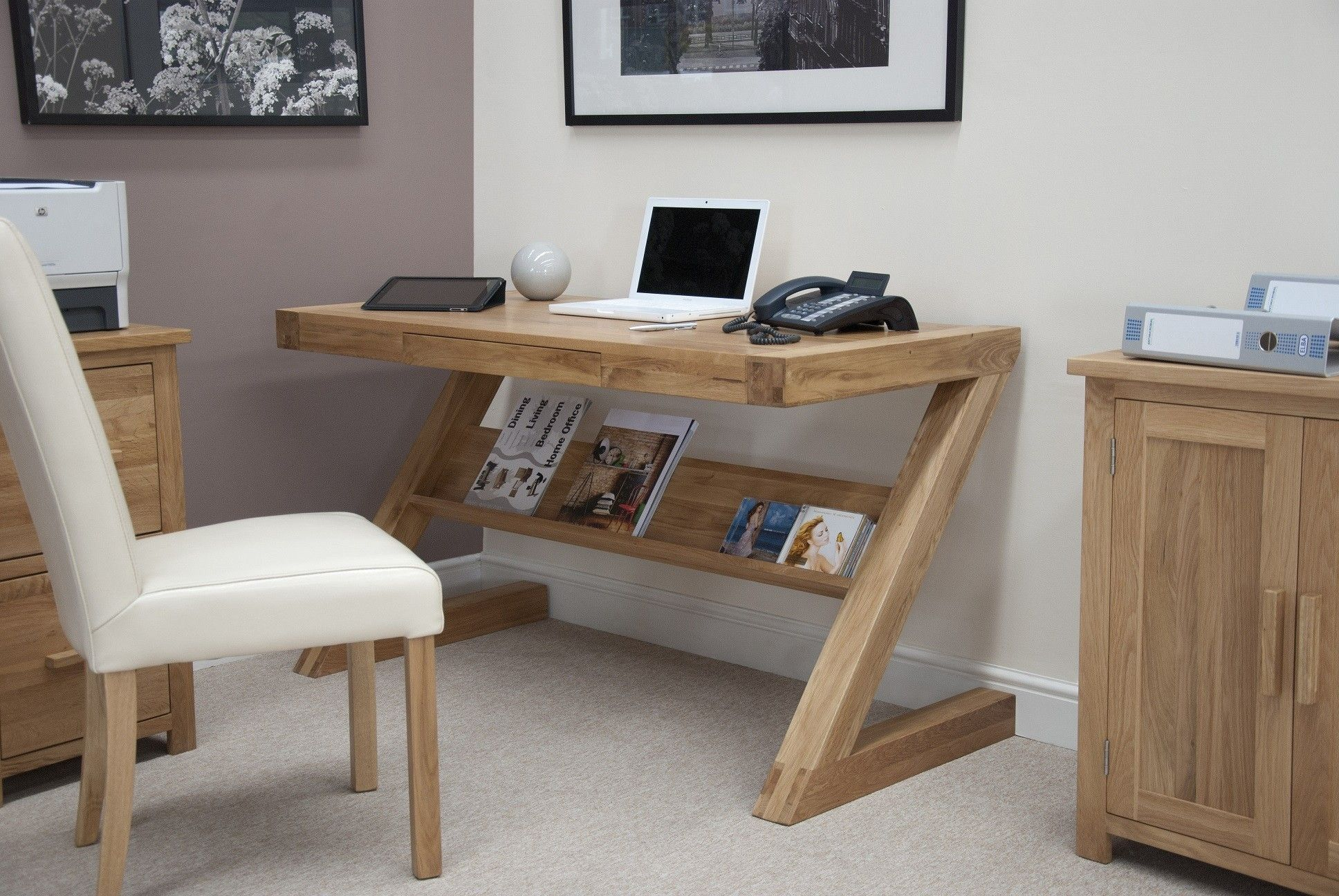Stylish Oak Computer Desks For Home Small Oak Z Shape Computer Desk