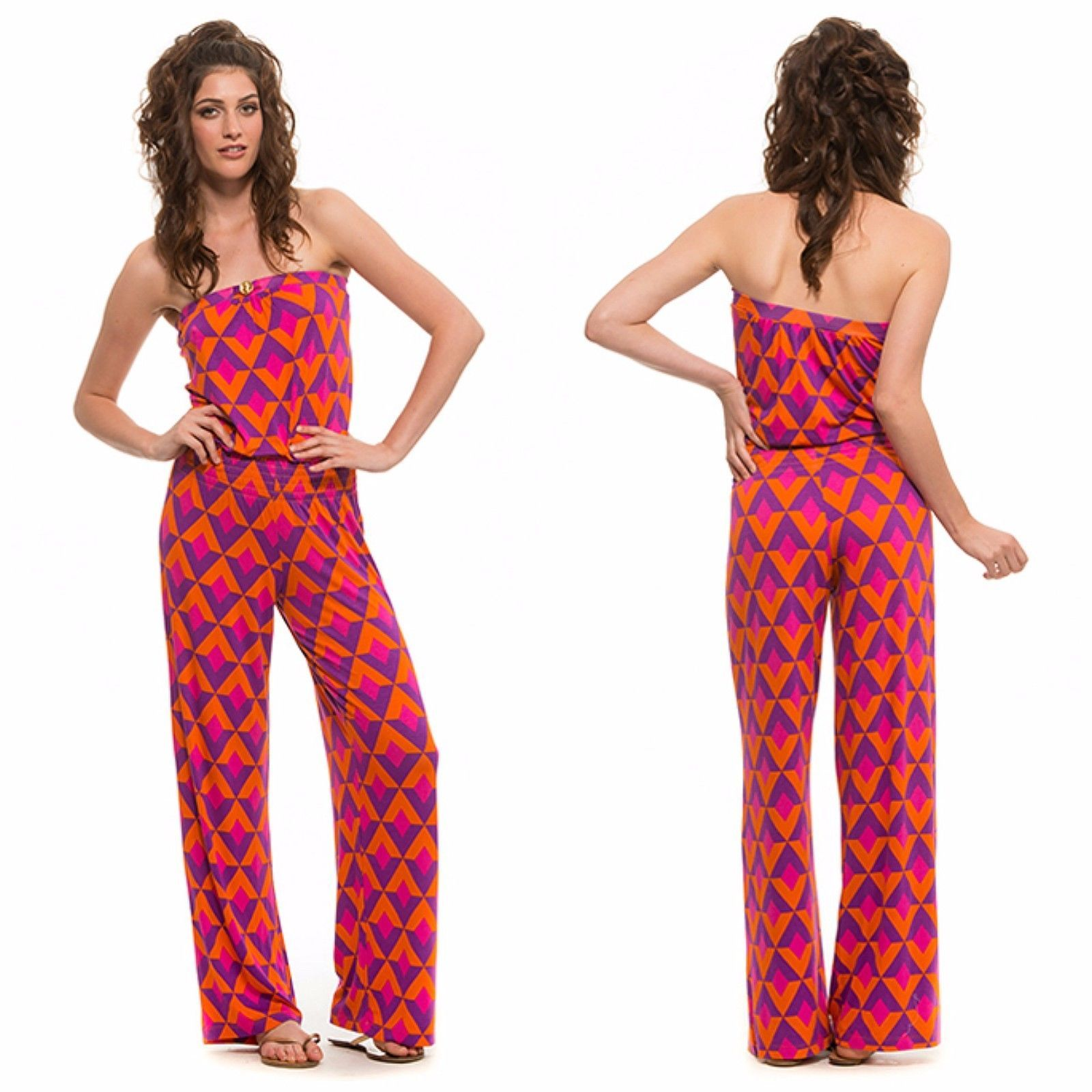 438af97134 Macbeth Collection Nina Mulberry Jumpsuit Strapless Flare Leg Fuchsia XS S  M