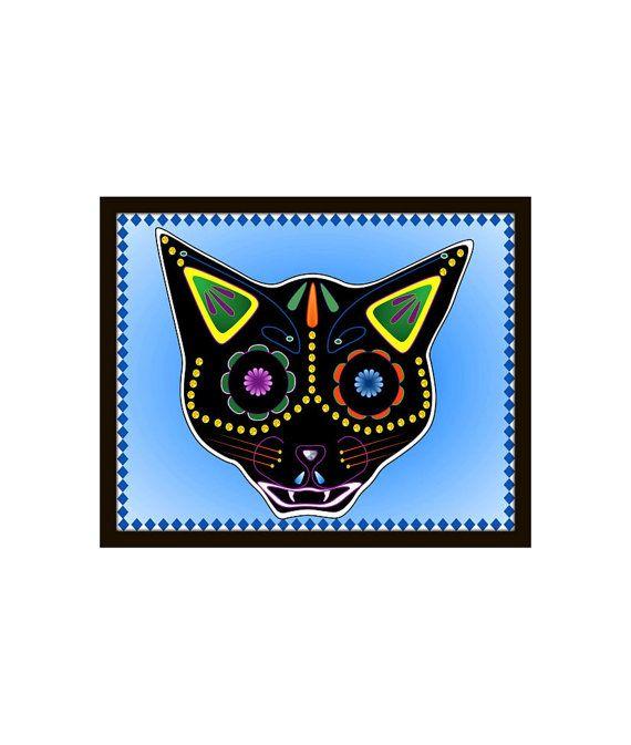 Halloween Decor Print Cat Sugar Skull Day of the Dead by LadyHonsa - halloween decorations black cat