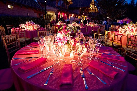 Pinspot Lighting On A Table At Wedding Highlighted