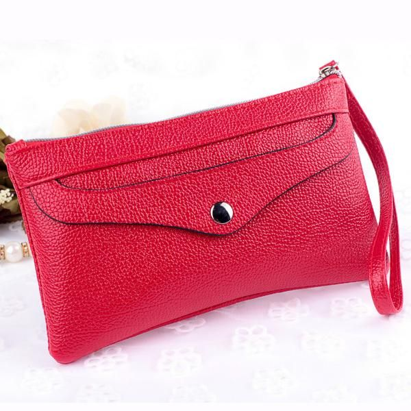 Fashion Candy Color PU Leather Women Wallet Edge Lychee Emboss Zipper Long Wallets Multifunction Change Purse Lady Card Package #Affiliate