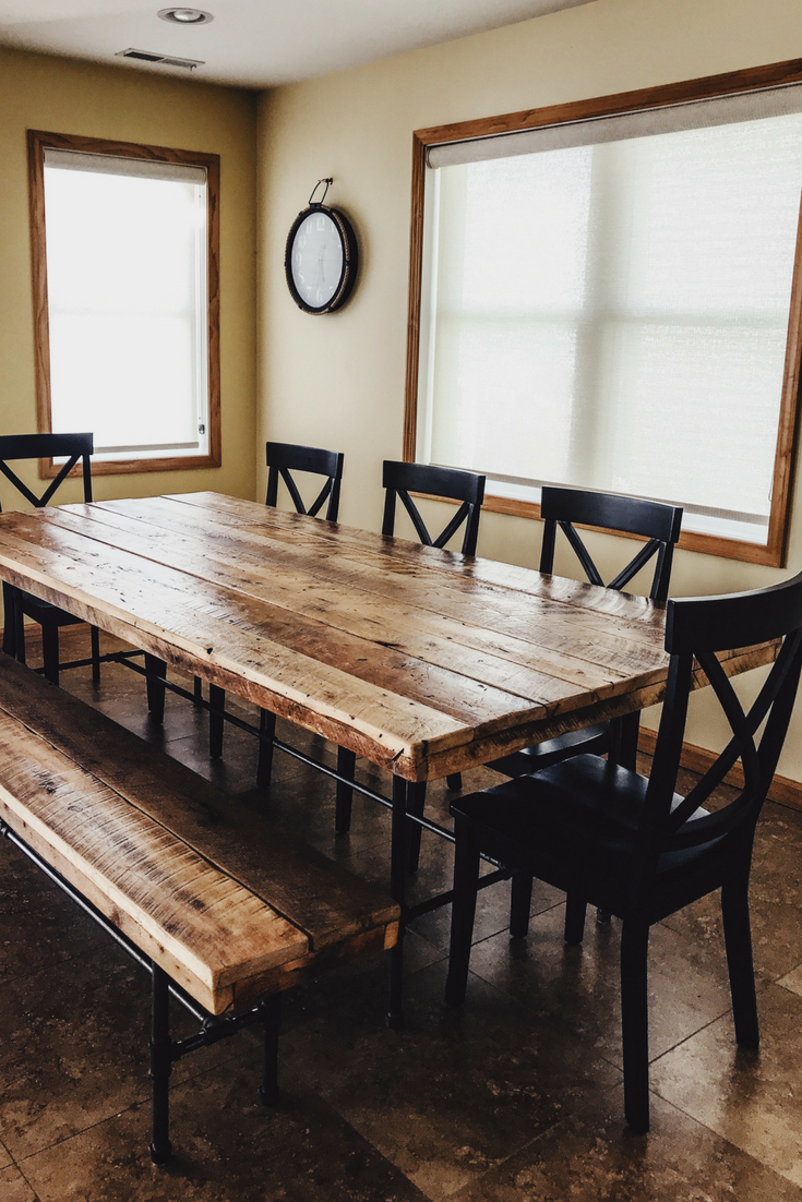 Barnwood dining room table reclaimed wood lake house kitchen ideas also jul decor  pinterest rh