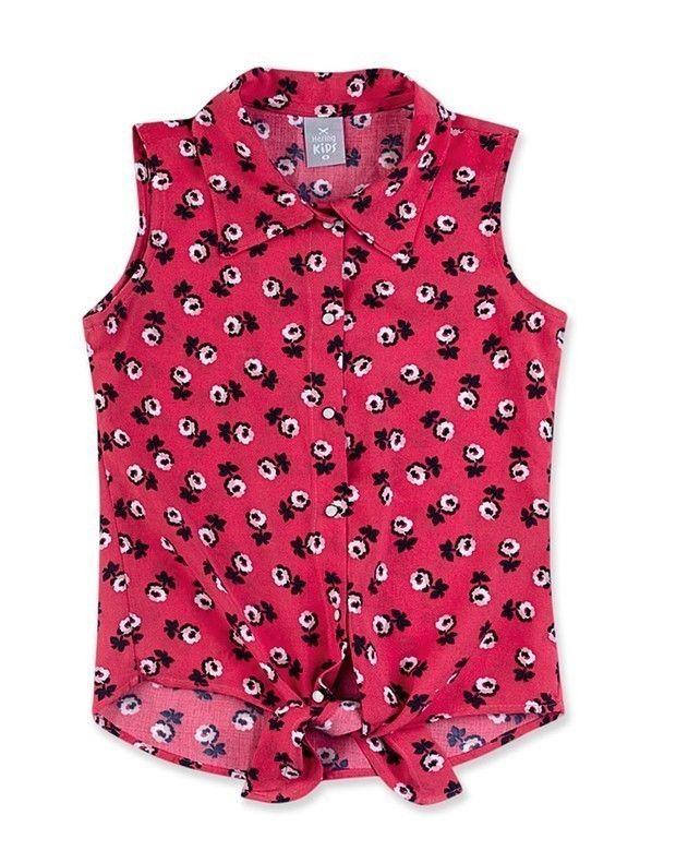 Camisa Infantil Menina Em Tecido De Viscose Estampada  b5a06161eff