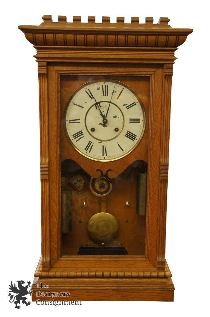 Seth Thomas 19th C Antique Wall Clock With Chime Tiger Oak Case