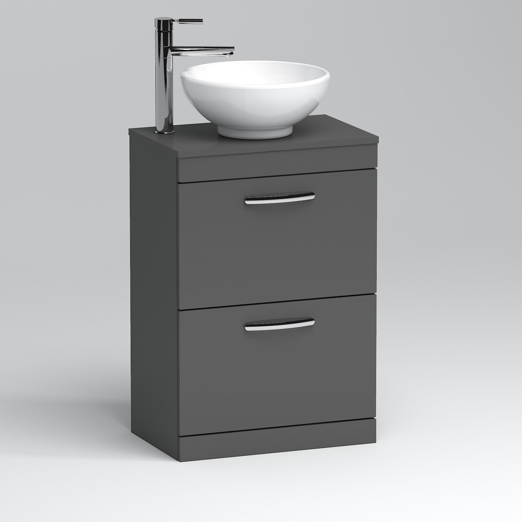 800mm Floor Standing Vanity Unit 2 Drawer Indigo Grey Gloss