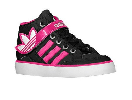 adidas Originals Hard Court Hi Strap - Girls' Toddler - Basketball - Shoes  - Black/Blast Pink/Running White