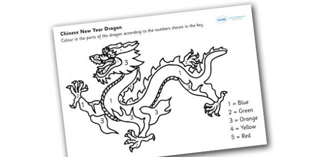 chinese dragon number colouring