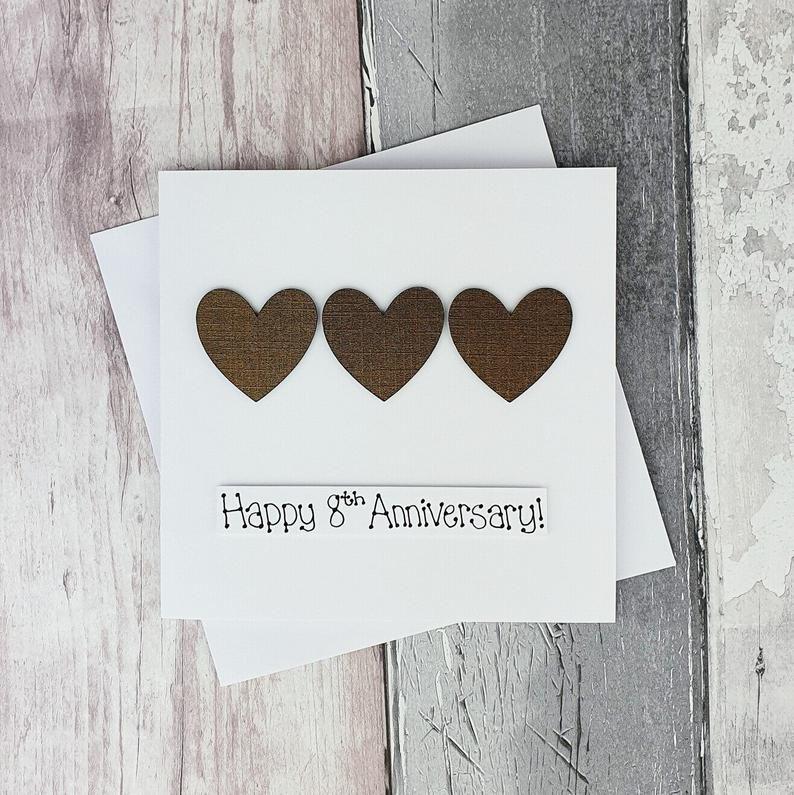 8th Anniversary Card Bronze Wedding Anniversary Card Etsy Anniversary Cards Handmade Wedding Anniversary Cards Anniversary Cards