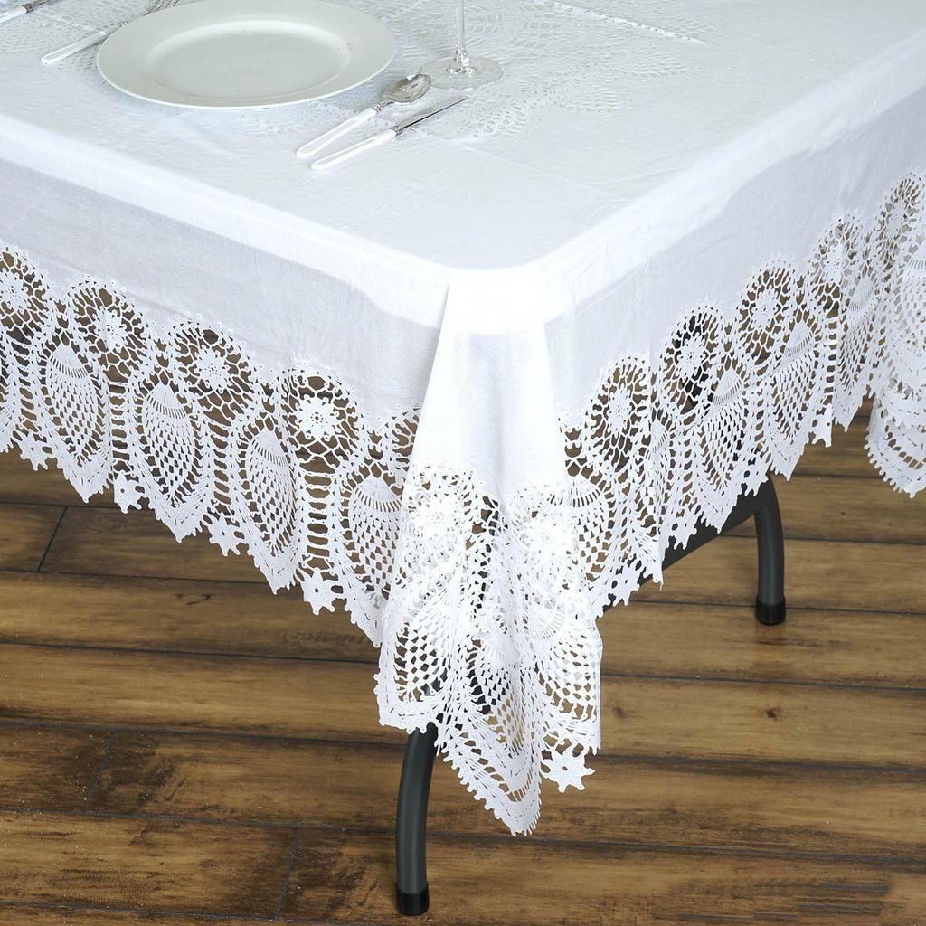 60 X 108 White 10 Mil Thick Lace Vinyl Waterproof Tablecloth Pvc Rectangle Disposable Tablecloth In 2020 Vinyl Tablecloth Waterproof Tablecloth Table Cloth