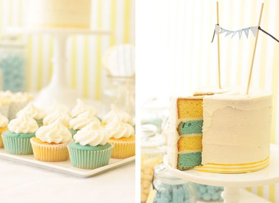 tiffany blue and yellow cake. love the colors, but would definitely do them as the frosting, not the actual cake.