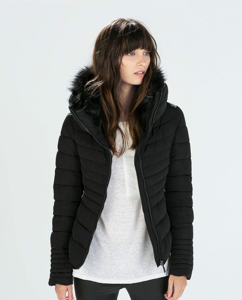 ZARA Woman BNWT Black Short Anorak With Fur Collar Quilted Jacket ...