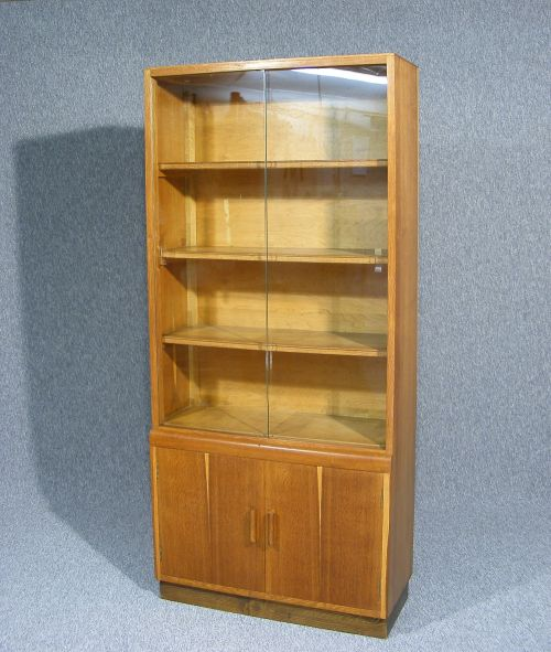 A Wonderful Glazed Bookcase Display Cabinet Sliding Glass Doors To