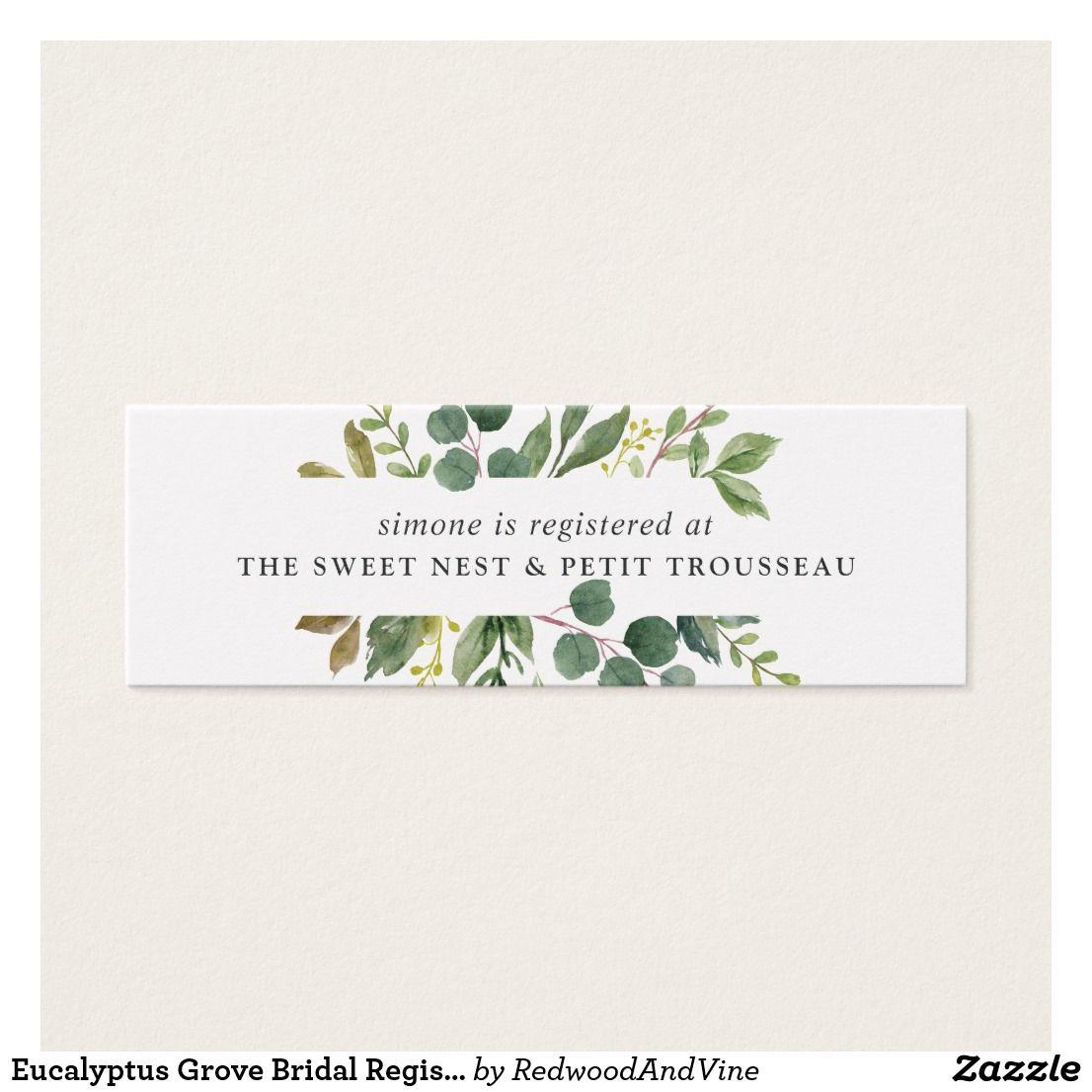 Destination Wedding Gift Etiquette: Eucalyptus Grove Bridal Registry Insert Cards